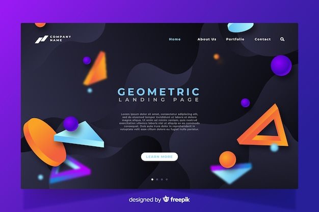 3d геометрическая современная посадочная страница