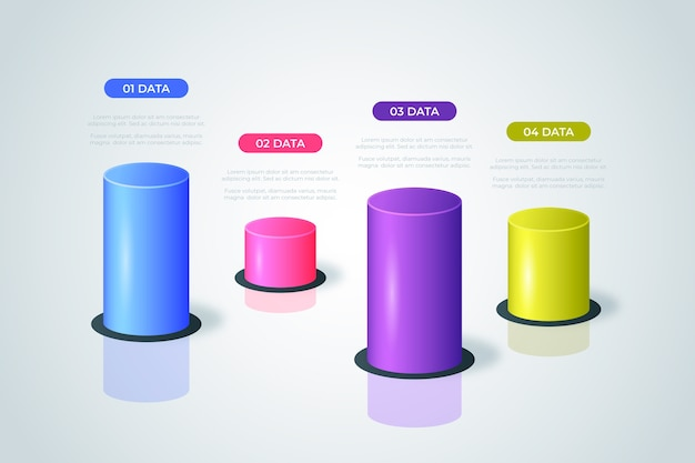 3d бары инфографики шаблон