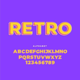 Коллекция алфавит от а до я в 3d ретро концепции