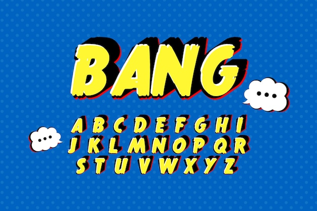 Комический 3d алфавит от а до я концепции