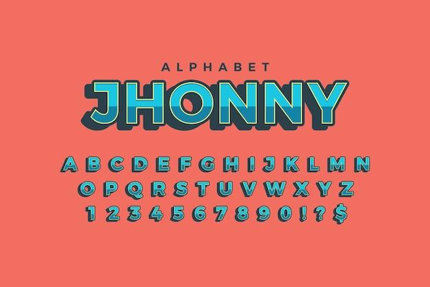 3d ретро алфавит тема