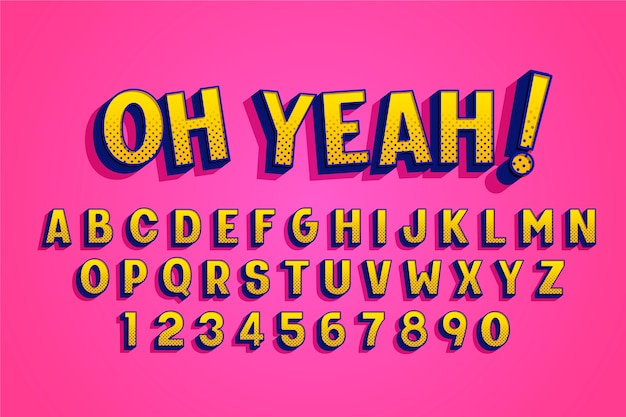 Комический дизайн 3d алфавит