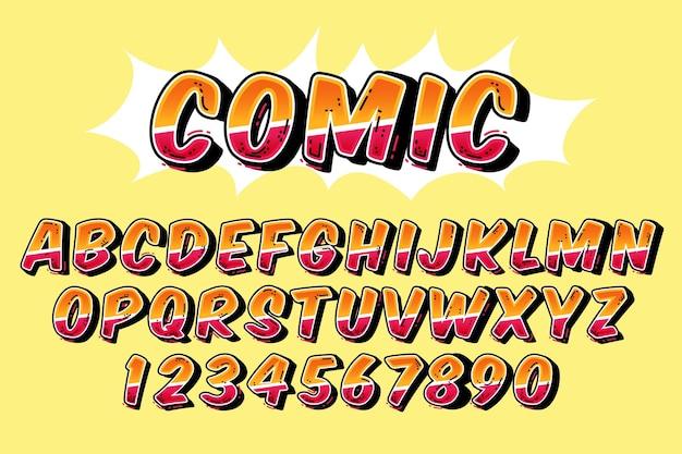 3d концепция комического алфавита