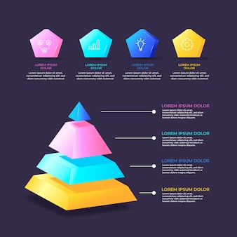 Красочная 3d глянцевая инфографика с шагами