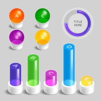 3d глянцевая подробная инфографика в разные цвета