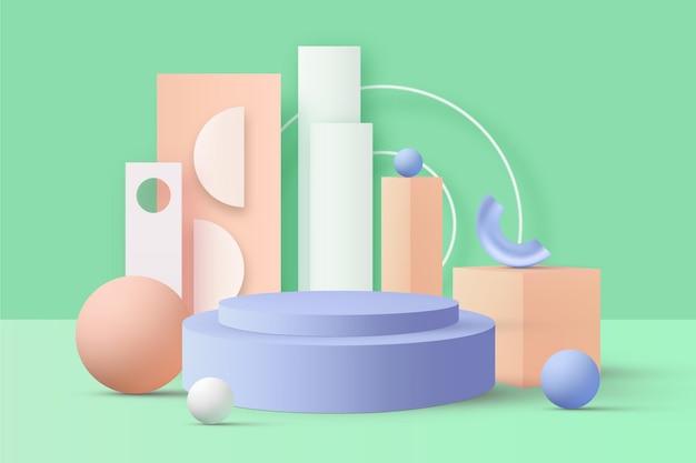 Вид спереди пастельный подиум 3d эффект