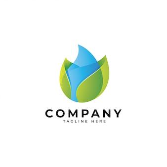 3d современный логотип с зелеными листьями и каплями воды