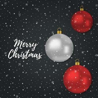 3dの現実的な赤い銀のボールとクリスマスの背景