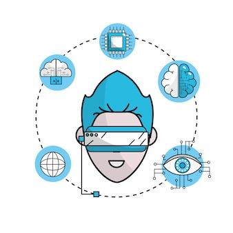 人間のサイバースペースは3dメガネと接続する