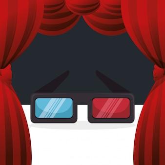 Кино 3d очки развлечения значок