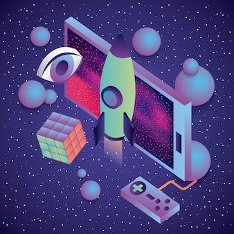 スマートフォンのゲームコントロールロケットキューブの目の3dバーチャルリアリティ