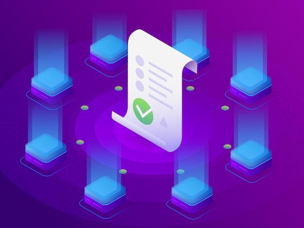 Блокчейн, умная концепция контракта. интернет бизнес с цифровой подписью. 3d изометрические иллюстрация.