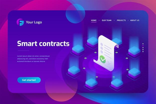 Блокчейн, умная концепция контракта. интернет бизнес с цифровой подписью. 3d изометрические иллюстрация. шаблон целевой страницы