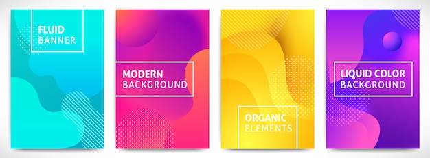 Жидкие формы динамические 3d вертикальные баннеры установлены. абстрактная современная жидкость цвет фона с текстом. для презентации, обложка, флаер, веб, заголовок, страница, брошюра. футуристическая иллюстрация
