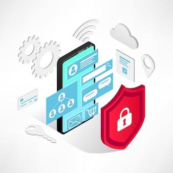 Изометрические интернет-концепция безопасности. иллюстрация защиты данных с смартфон, 3d-экран, значки и щит, изолированные на белом фоне. безопасность и конфиденциальность личной информации баннер
