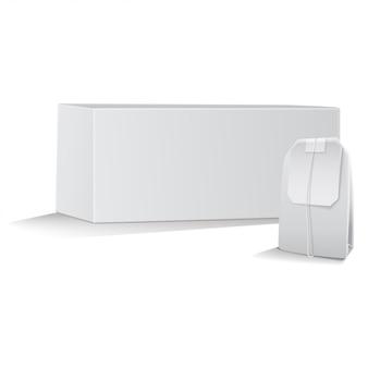 Чайная коробка с чайным пакетиком. 3d пакет шаблонов. реалистичная иллюстрация