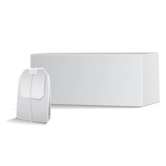 Чайная коробка с чайным пакетиком. реалистичная упаковка шаблона. 3d иллюстрация