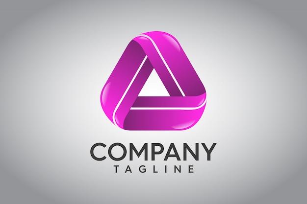 抽象的な三角形3dのロゴ