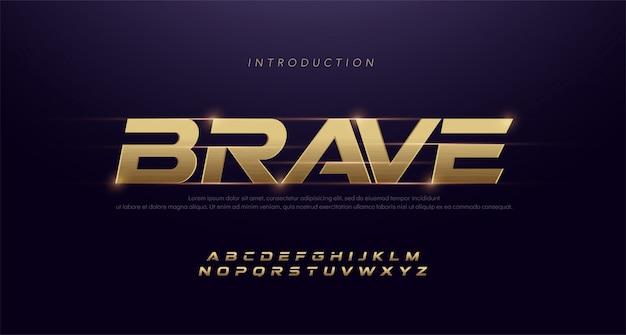 Спорт современный курсив алфавит золотой шрифт. типография 3d из нержавеющей волосяного покрова золотые шрифты