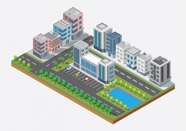 Изометрические городской застройки вектор. город на дворе с дорогой и деревьями. мост через реку. шикарный город и общественный парк. строительство 3d, автомобили, столица, вектор офис и концепция мегаполиса.