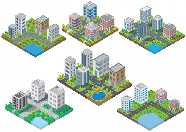 Установите изометрические здания вектор. они на дворе, река с дорогой. здание 3d, умный город
