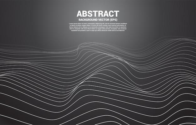 デジタル輪郭曲線ドットと線とワイヤーフレームを持つ波。 3d未来技術の抽象的な背景