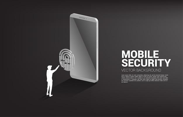 Отпечаток пальца касания бизнесмена на значке 3d сканирования пальца с мобильным телефоном. фоновая концепция технологии безопасности и конфиденциальности в сети