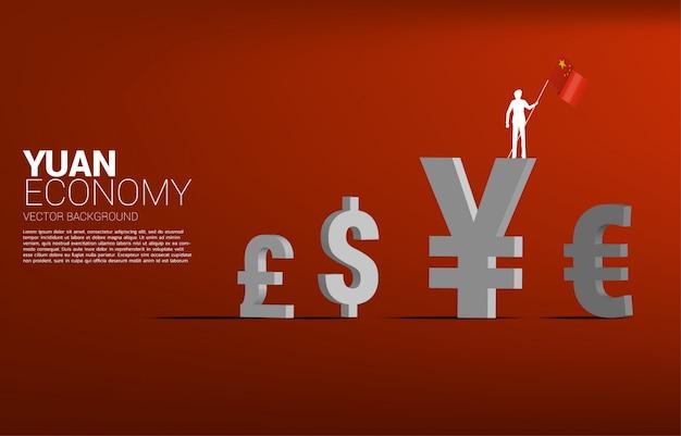Силуэт вектора бизнесмена держит значок 3d валюты юаней денег красного флага с другими. концепция китайской экономики и эпохи китайского