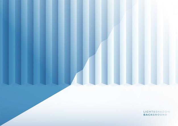 最小限の3dで現実的な青いスタジオの壁、空の光と影の部屋のインテリア。