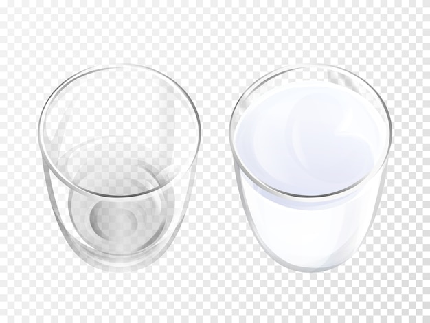 ミルクガラス乳製品のドリンクやヨーグルトのトップビューの現実的な食器の3dイラスト。
