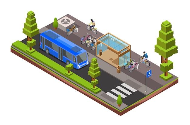 Изометрическое поперечное сечение шины. 3d городская стеклянная станция с припаркованными велосипедами, велосипедисты