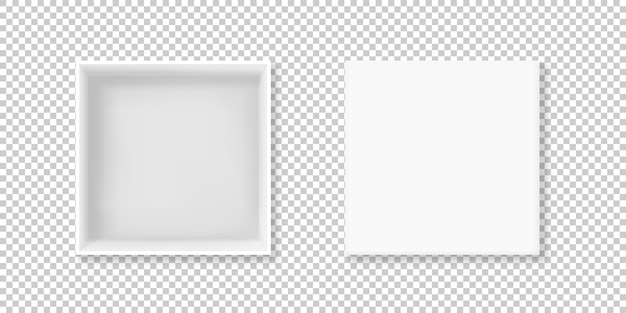 現実的な3dのボール紙やカートンの紙の白いボックスの図正方形の空のパッケージ