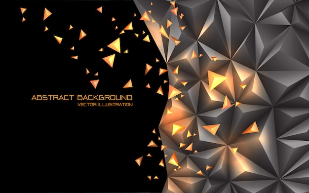 Абстрактный серый золотой треугольник 3d черный пустое пространство футуристический фон технологии.