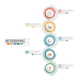 Абстрактный 3d-инфографический шаблон с пятью шагами для успеха. шаблон бизнес-круга.