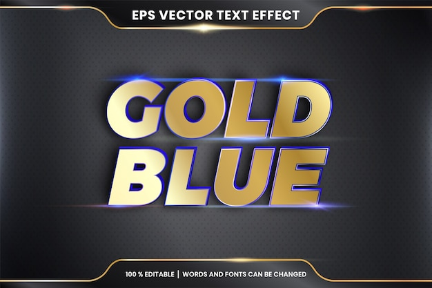 Эффект текста в 3d золото синие слова стили шрифта тема редактируемый металлический золотой цвет концепция
