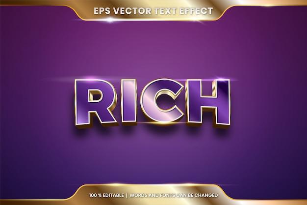 Текстовый эффект в 3d богатые слова, тема текстового эффекта редактируемый металлический золотой цвет концепция