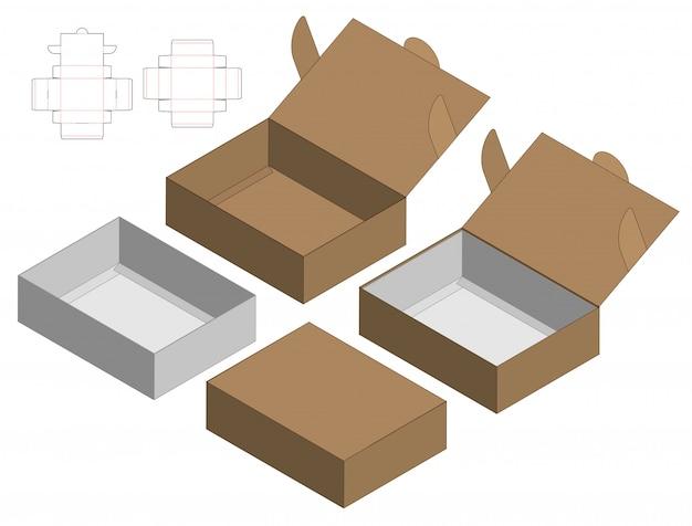 Коробка упаковочная высечки шаблон дизайна. 3d макет