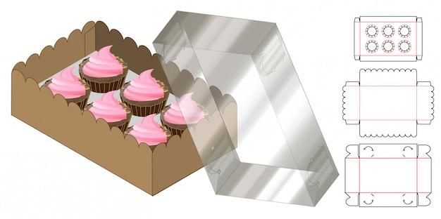 カップケーキボックス包装ダイカットテンプレートデザイン。 3dモックアップ