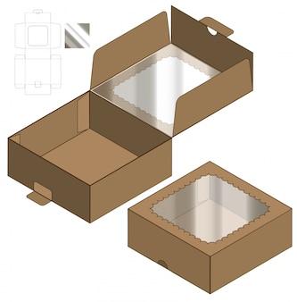 ボックス包装ダイカットテンプレートデザイン。 3d