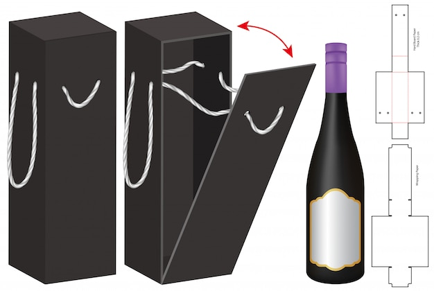 Бутылка коробки упаковки высечки шаблон дизайна. 3d