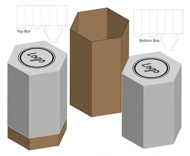 背の高い箱包装ダイカットテンプレートデザイン。 3dモックアップ