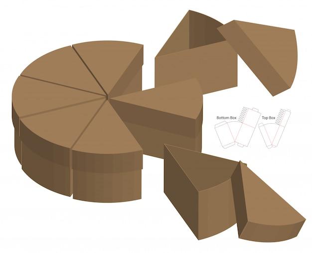分割ケーキスタイルボックス包装ダイカットテンプレートデザイン。 3dモックアップ