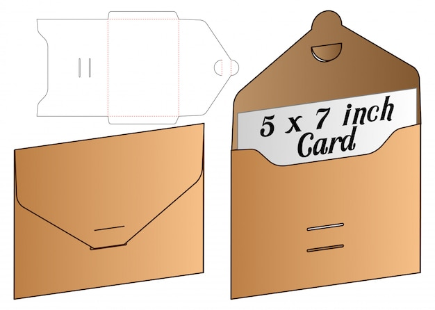 招待状の封筒パッケージダイカットテンプレートデザイン。 3dモックアップ