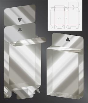 ボックスパッケージダイカットテンプレート。 3d