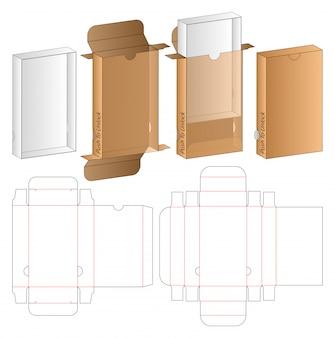 ボックスパッケージダイカットテンプレートデザイン。 3dモックアップ