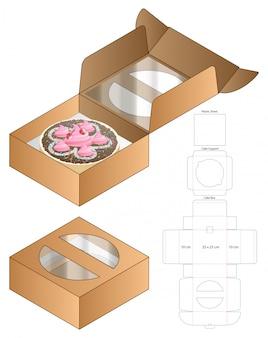 ケーキボックスパッケージダイカットテンプレートデザイン。 3dモックアップ