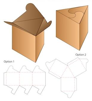 トライアングルボックスパッケージダイカットテンプレート。 3d
