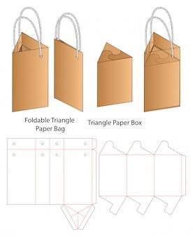 Бумажный пакет упаковки высечки шаблона. 3d