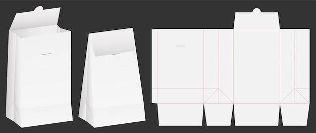 紙袋包装ダイカットと3dバッグモックアップ