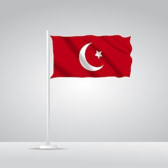 3d現実的なトルコの旗の波のベクトルのイラスト